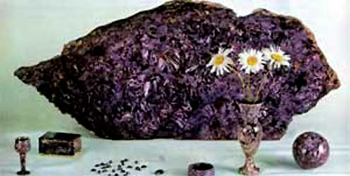 Charoite is beautiful, hard, durable, easy to handle, called lilac stone of Yakutia