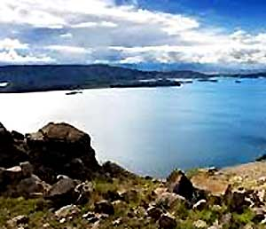Lake Titicaca is located high in the Andes on the border of two countries - Peru and Bolivia